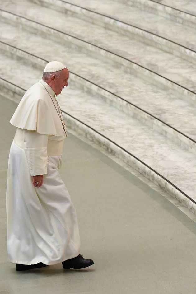 Pope Francis arrives for the weekly general audience on January 8, 2020 at Paul-VI hall in the Vatican....