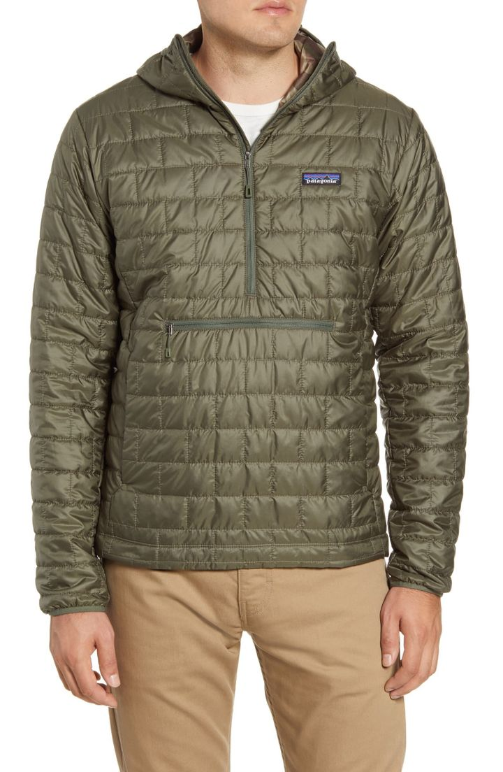 """This <a href=""""https://fave.co/2unNZNE"""" target=""""_blank"""" rel=""""noopener noreferrer"""">Patagonia pullover jacket</a> has a shell that's made from recycled fabric and is insulated with partially recycled Primaloft.&nbsp;"""