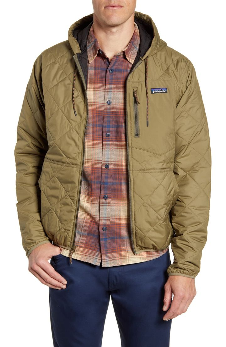 """This <a href=""""https://fave.co/300HcVY"""" target=""""_blank"""" rel=""""noopener noreferrer"""">Patagonia hooded jacket</a> is made with recycled polyester taffeta and lined with Thermogreen insulation, which is 90% recycled."""