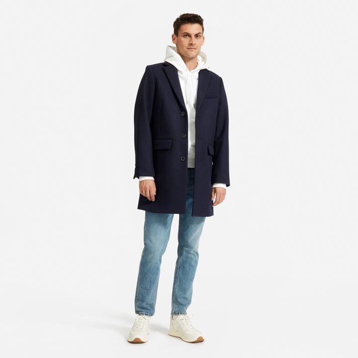 """Everlane's <a href=""""https://fave.co/2s4NAyT"""" target=""""_blank"""" rel=""""noopener noreferrer"""">ReWool Overcoat</a> is made&nbsp;from recycled wool sweaters.&nbsp;"""