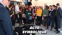 Face à leur ministre, des avocats en grève du barreau de Caen jettent leur robe à
