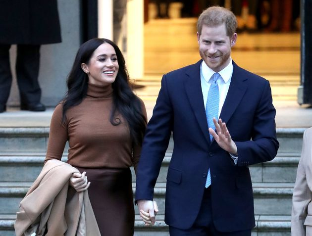 The Duke and Duchess of Sussex depart Canada House on Jan. 7, 2020 in London, England.