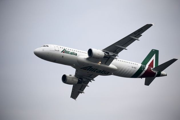 LINATE AIRPORT, MILAN, ITALY - 2019/10/13: The Airbus A320 of the airline Alitalia during the Linate...