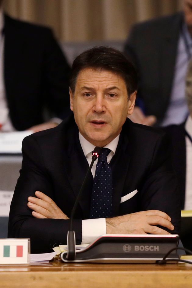 Italian premier Giuseppe Conte speaks during a Heads of State and Government level summit of the Center...