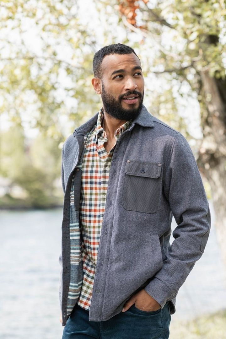 """Lined with striped flannel and taffeta sleeves, this <a href=""""https://fave.co/3049oak"""" target=""""_blank"""" rel=""""noopener noreferrer"""">United By Blue jacket</a> is made from recycled hemp and organic cotton."""