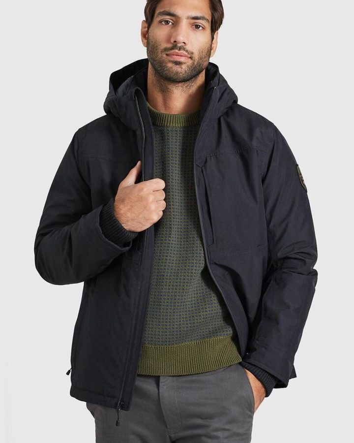 """Just in case you were wondering, yes &mdash; the hood on <a href=""""https://fave.co/2T6kOJA"""" target=""""_blank"""" rel=""""noopener noreferrer"""">this sport jacket</a> is removable and adjustable. The insulation on the jacket is made from bison fiber and recycled polyester."""