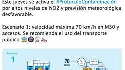 El Ayuntamiento de Madrid activa el Protocolo Anticontaminación para este