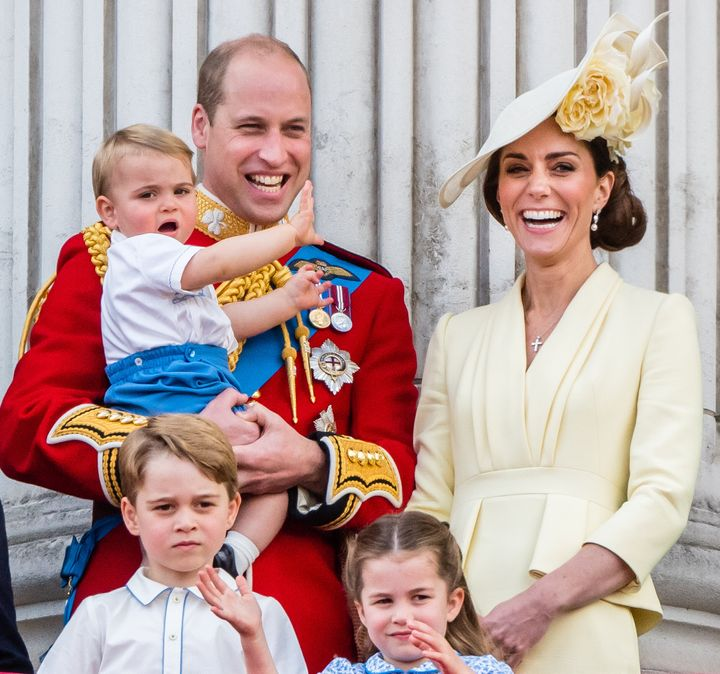 Prince Louis, Prince George, Prince William, Duke of Cambridge, Princess Charlotte and Catherine, Duchess of Cambridge appear on the balcony during Trooping the Colour, the Queen's annual birthday parade, on June 8, 2019, in London, England.