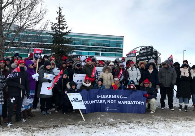 Members of the Ontario Secondary School Teachers' Federation hold a one-day strike in Brampton, Ont....