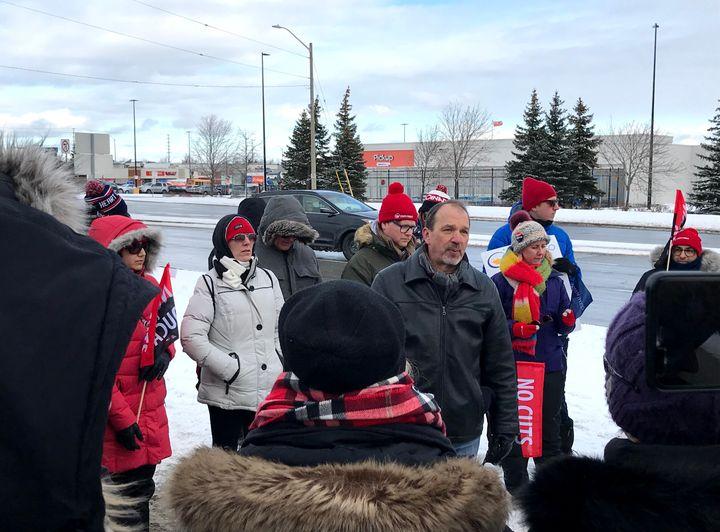 Harvey Bischof, president of the Ontario Secondary School Teachers' Federation, speaks to members on the picket line in Brampton, Ont. on Jan. 8, 2020.