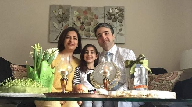 Parisa Eghbalian with her husband Hameed, and her daughter
