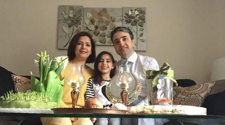 Parisa Eghbalian with her husband Hameed, and her daughter Reera.