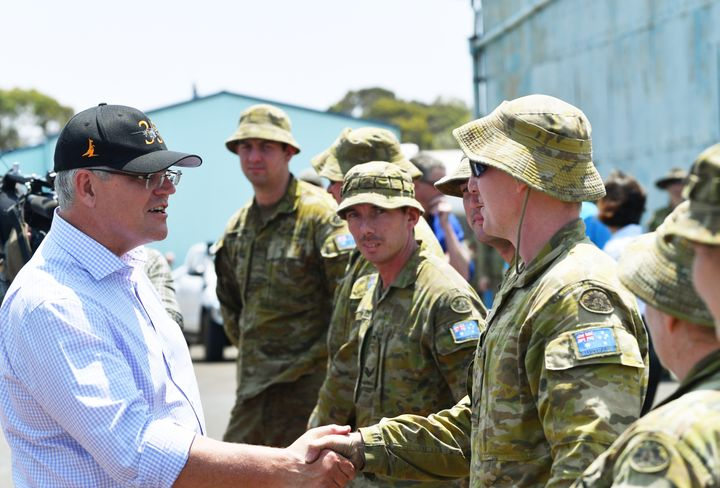 Australian Prime Minister Scott Morrison visiting Kangaroo Island following the devastating bush fires which have burnt a third of the island.
