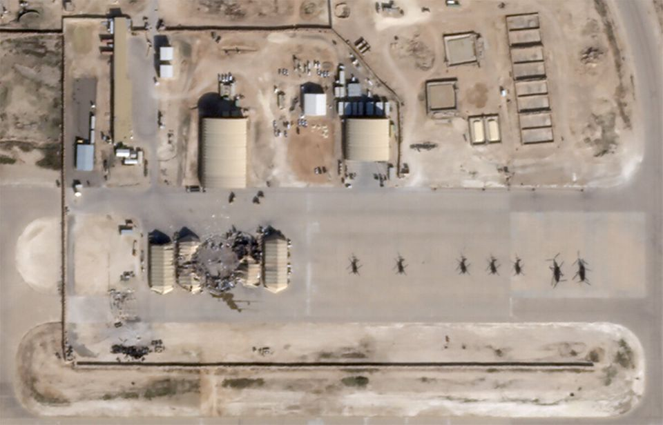 What appears to be new damage at Al Asad air base in Iraq is seen in a satellite picture taken January...