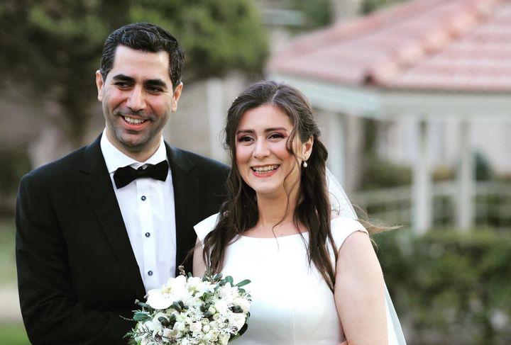 Siavash Ghafouri-Azar and Sara Mamani from Montreal are shown in a handout photo from family friend Gounash Pirniya taken at their wedding in Iran.
