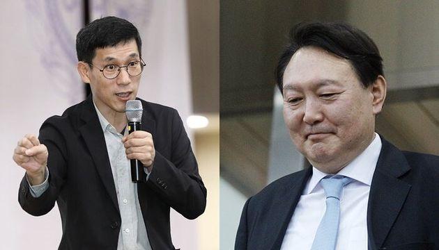 왼쪽부터 진중권 전 교수, 윤석열