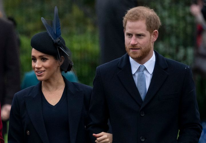 Meghan and Harry attend a Christmas Day church service on the Sandringham estate on Dec. 25, 2018.