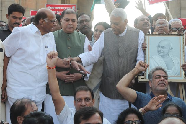 Former Bharatiya Janata Party leader Yashwant Sinha and Nationalist Congress Party president Sharad Pawar...