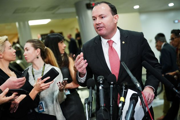 US Senator Mike Lee, R-UT, speaks to reporters following a closed-door briefing on Saudi Arabia at the...