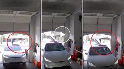 Ecco come non si deve parcheggiare una Tesla da 100mila euro in garage
