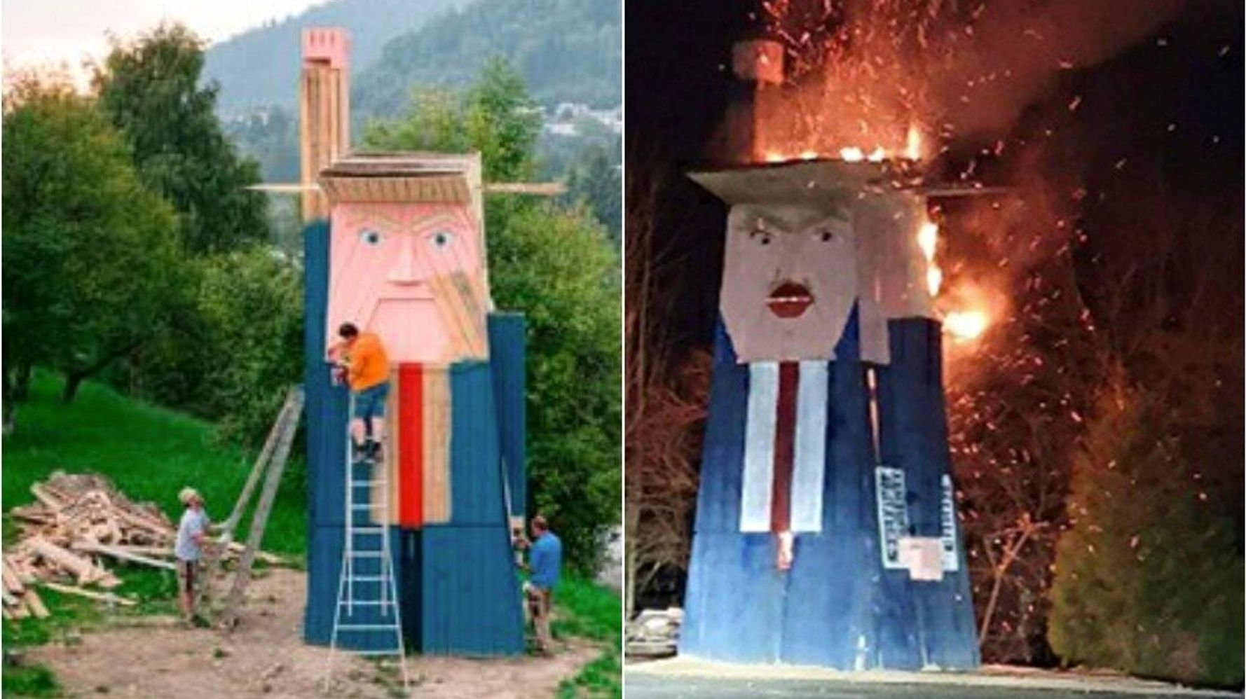 Arsonists Torch Controversial Donald Trump Statue In Melania Trump S Home Country Huffpost