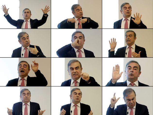 Une combinaison d'images de Carlos Ghosn lors de sa conférence de presse à Beyrouth au...