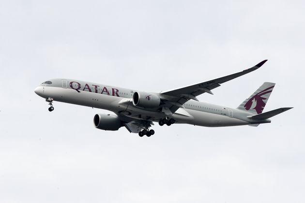 A Qatar Airways jet approaches Philadelphia International Airport in Philadelphia, Thursday, Nov. 7,...