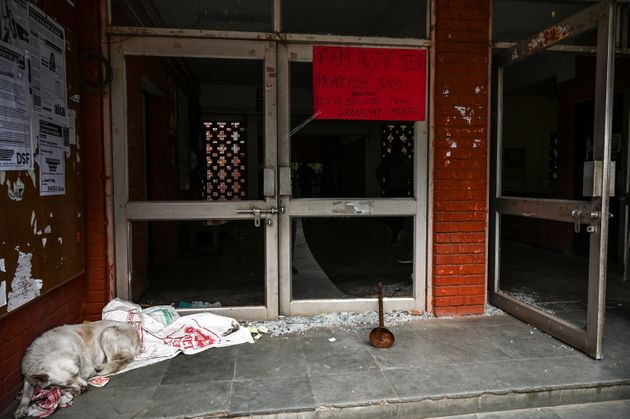 The vandalised entrance of Sabarmati Hostel, JNU, on 6 January, a day after the