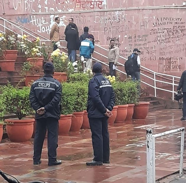 JNU security guards from Cyclops at the administrative block on campus, three days after the violence....