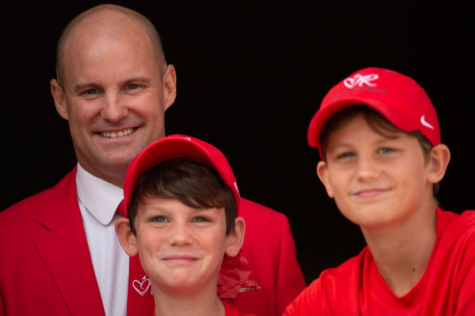 Andrew Strauss with sons Luca (left) and Samuel (right).