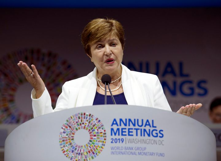 International Monetary Fund (IMF) managing director Kristalina Georgieva -- shown here at the World Bank/IMF Annual Meetings in Washington, Fri. Oct. 18, 2019 -- is urging higher taxes on the wealthy to combat inequality.