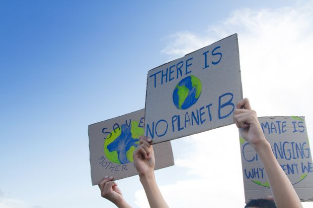 Group people of demonstration making protest about climate change, plastic pollution and forest fire...