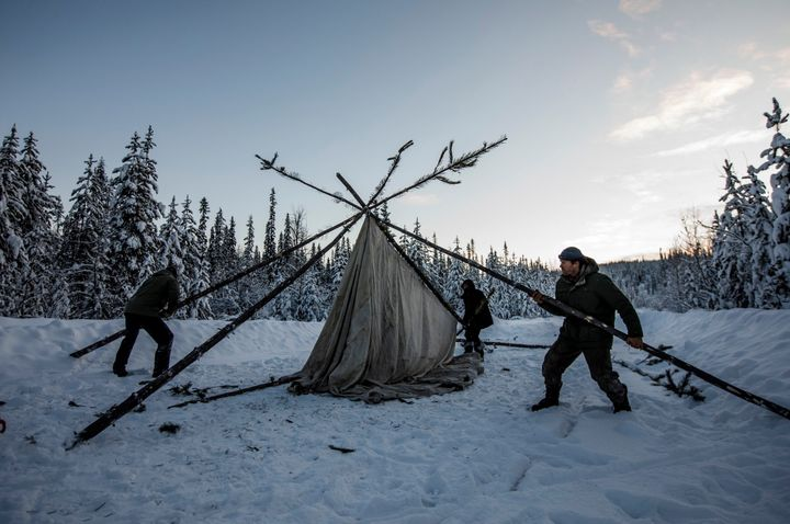 Supporters of the Wet'suwet'en hereditary chiefs and who oppose the Coastal GasLink pipeline set up a support station at kilometre 39, just outside of Gidimt'en checkpoint near Houston B.C., on Jan. 8, 2020.