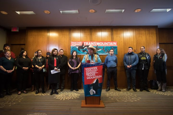 Coldwater Indian Band Chief Lee Spahan speaks during a news conference ahead of a Federal Court of Appeal case on the Trans Mountain pipeline expansion in Vancouver on Dec. 16, 2019.