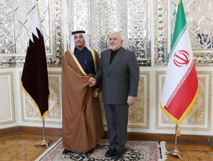 The foreign minister of Qatar, left, whose country hosts the biggest U.S. base in the Middle East, visited Iranian Foreign Mi