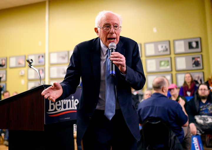 Bernie Sanders speaks at a town hall in Anamosa, Iowa. A run of prominent progressive endorsements is buoying the presidentia