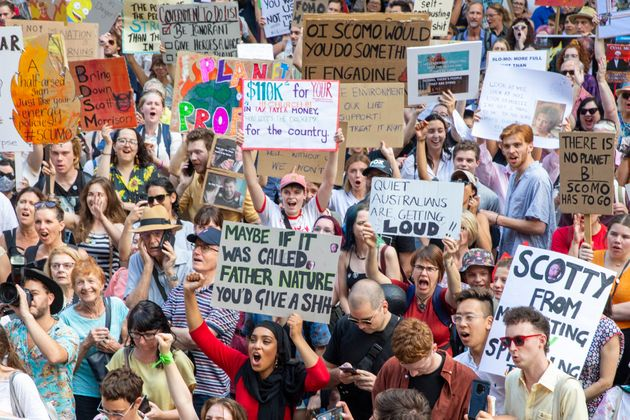 Activists rally for climate action at Sydney Town Hall on January 10, 2020 in Sydney,