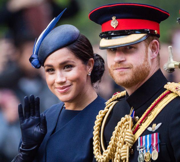 Los duques de Sussex, en el desfile Trooping The Colour el 8 de junio de 2019 en