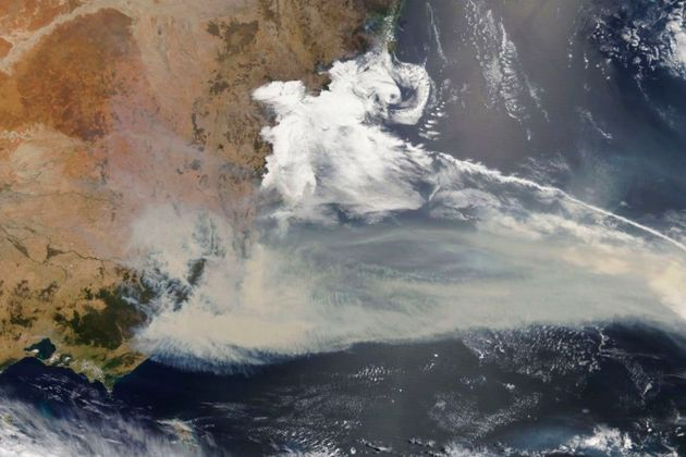 Thick smoke blanketing southeastern Australia along the border of Victoria and New South Wales on January...