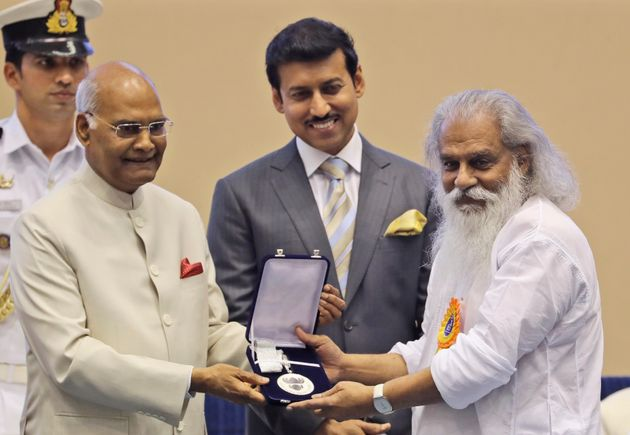 President Ram Nath Kovind, confers the Best Male Playback Singer award to K.J. Yesudas during the 65th...