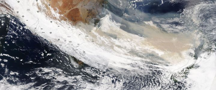 Smoke moving in an easterly direction toward New Zealand on January 5, 2020