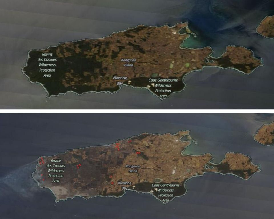Top image shows Kangaroo Island on January 3, bottom picture shows extent of damage on January