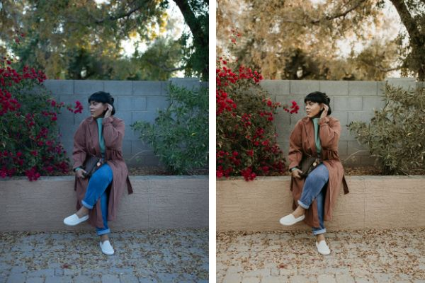 Denisse Myrick cuts down on the time it takes to edit her photos by using presets she designed specifically for people of color. Here, a before (left) and after (right) shot.