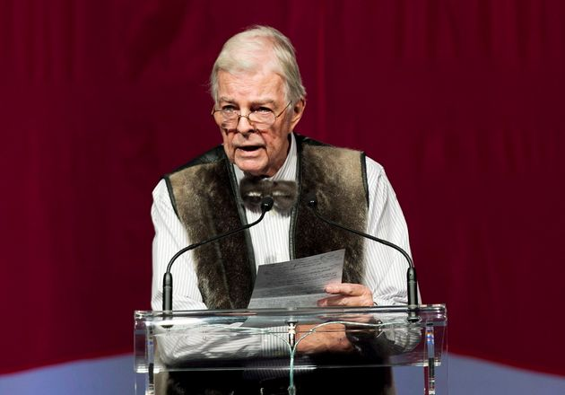 John Crosbie is shown speaking in Toronto on Jan. 21,