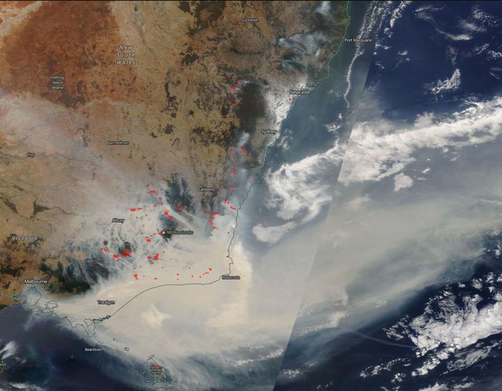 A view of south-eastern Australia during on January 3, with each red spot marking fires and heat anomalies.