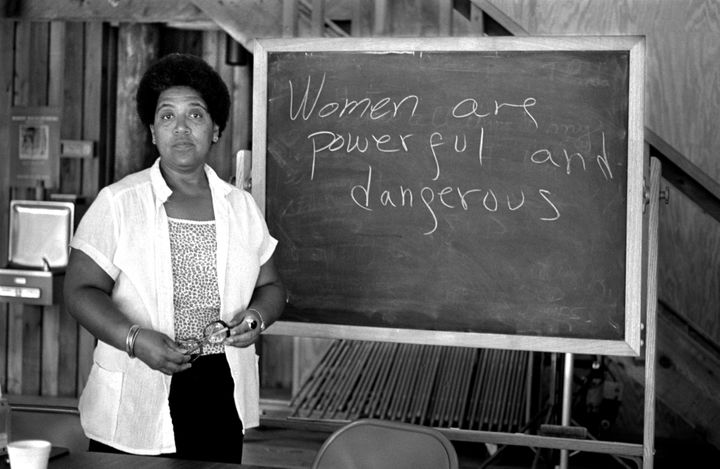 Feminist writer poet and civil rights activist Audre Lorde poses for a photograph during her 1983 residency at the Atlantic C
