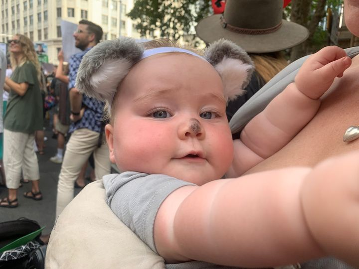 Protesters used the event to highlight the plight of animals such as koalas in the bushfires.
