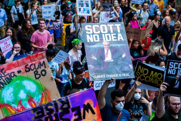 Activists rally for climate action at Sydney Town Hall on January 10.