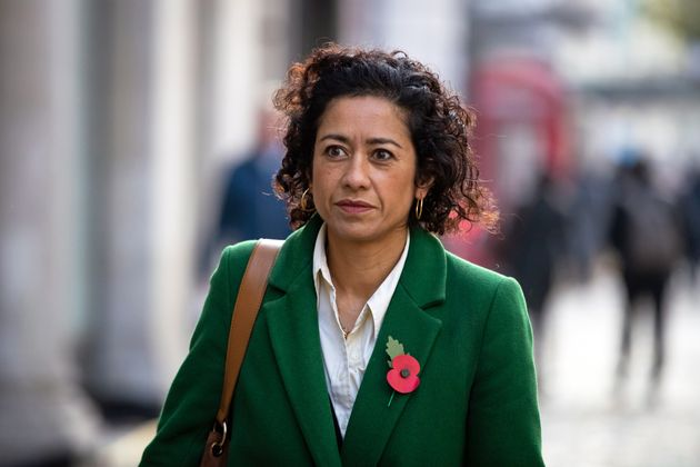 Journalist, writer and broadcaster Samira Ahmed arrives at the Central London Employment Tribunal, Victory...