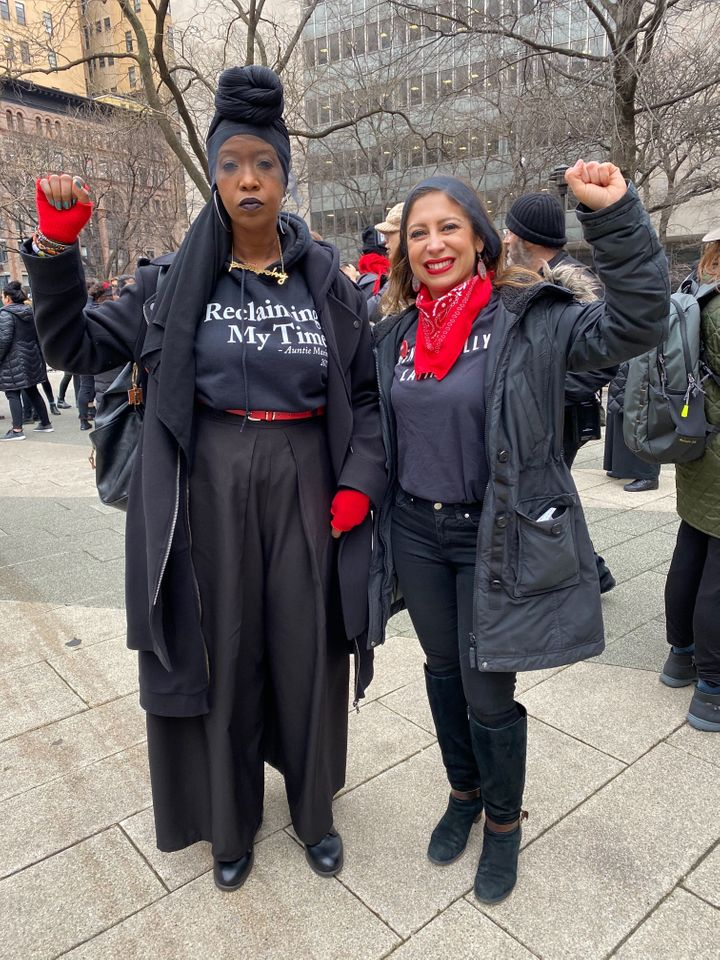 "Zakiyah Ansari and Jessica Gonzalez-Rojas gather to perform the Chilean anti-rape anthem ""A Rapist In Our Path"" outside of th"